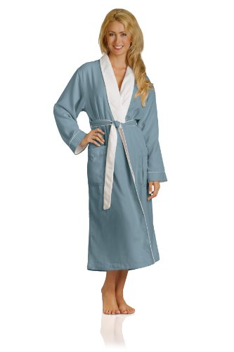 Plush Necessities Luxury Spa Robe – Microfiber with Cotton Terry Lining, Aqua, Large