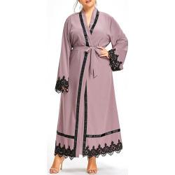 Plus Size Lace Trim Maxi Robe Coat with Belt