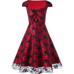 Plus Size Cap Sleeve Lace Panel Vintage Dress