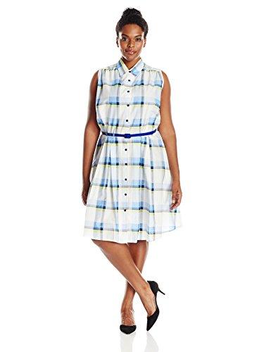 Julian Taylor Women's Plus Size Plaid Sleeveless Shirt Dress, Ivory/Blue, 18W