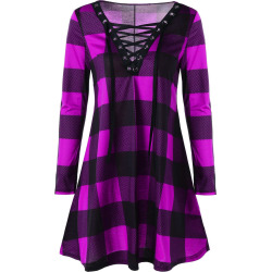Plus Size Plaid Lace Up Dress