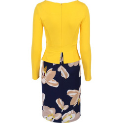 Hot Sale Autumn Elegant Women Long Sleeve Vintage Floral Print Patchwork Working  Pencil Office Bodycon Plus Size Dress
