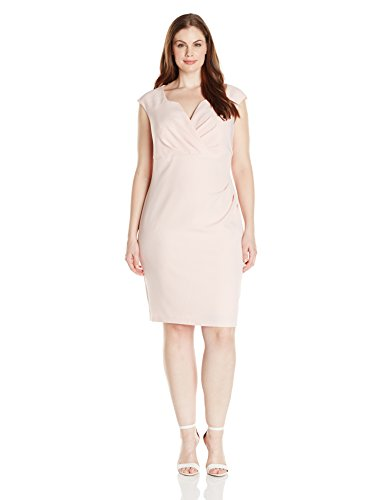 Adrianna Papell Women's Plus-Size Pleated Surplus V Neck Sheath Dress, English Rose, 24w
