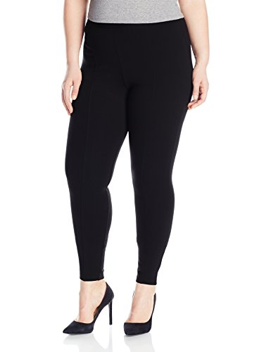 HUE Women's Plus Size High Waist Blackout Ponte Leggings, Black, 2X
