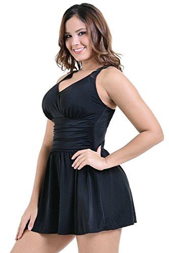 PERONA Plus Size Swimwear Tummy Control Swimdress Size12-28 One Piece Swimsuit with Flared Skirt for Womens – Black-26W