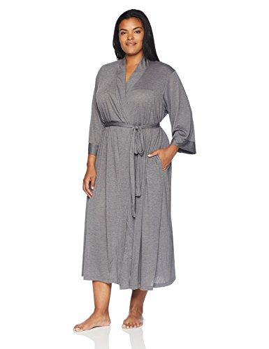 N Natori Women's Plus-Size Congo Robe, Heather Grey, 1X