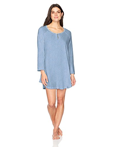 Karen Neuburger Women's Petite Long Sleeve Nightshirt Nightgown Pajama Dress Pj, Dot Bay Blue, P/L