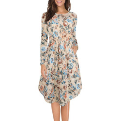Women's Long Sleeve Vintage Printed Waist Fold Casual Dress