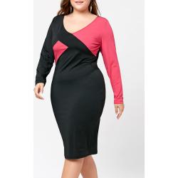Color Block Plus Size V-neck Sheath Dress