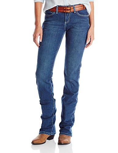 Wrangler Women's Cowgirl Cut Ultimate Riding Jean Q-Baby Midrise Jean, Vintage Cast White Leather/Lace, 15/16×34