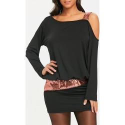 Sequins Cold Shoulder Blouson Dress