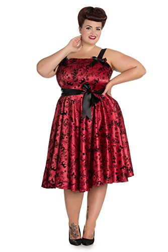 Plus Size Bloody Marry Red Rockabilly Gothic Velvet Tattoo Art Flocked Party Dress (XXX-Lage)