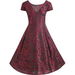 Plus Size Jacquard Lace Midi Rockabilly Dress