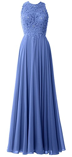 MACloth Elegant High Neck Long Prom Dress Lace Chiffon Formal Party Evening Gown (2, Horizon)