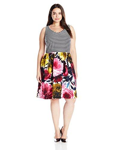 Taylor Dresses Women's Plus-Size Stripe Top Floral Bottom Ponte Scuba, Navy/Cream, 22W