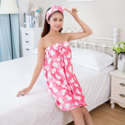 Cute Flannel Bath Towel Lovely Women's Bathrobes