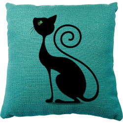 Cartoon Silhouette Black Cat Silhouette Pillow Cushion Cover Car Bedroom Set