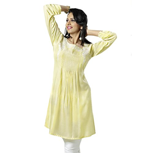 Women Yellow Color Cotton Tunic 3/4 Sleeve Dress (l)