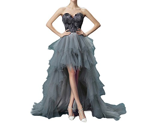 M Bridal Women's Beaded Feathers Sweetheart Layers Tulle High-Low Prom Dress Grey Size 4