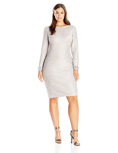Eliza J Women's Plus Size Long Sleeve Sheath with Beaded Cuff Detail, Taupe, 16W
