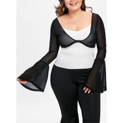 Plus Size Sheer Crop Top
