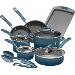 rachael ray porcelain enamel aluminum nonstick 14 piece cookware set marine - Rachael Ray Porcelain Enamel Aluminum Nonstick 14 piece Cookware Set - Marine Blue