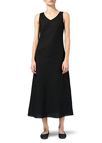 Vivid Linen Bias Cut Sleeveless Long Dress-XS-Black