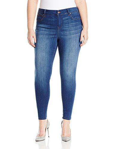 Celebrity Pink Jeans Women's Plus Size Infinite Stretch Mid Rise Skinny Jeans, Kings of Leon Md, 18W