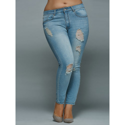 Plus Size Mid Waisted Ripped Jeans