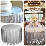 "156 round sparkly silver sequin table cloth sequin table clothcake sequin 150x150 - 6"" Blue with Relief Map MOVA Globe"