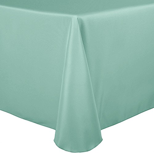 ultimate textile 60 pack 52 x 70 inch oval polyester linen tablecloth for - Ultimate Textile (60 Pack) 52 x 70-Inch Oval Polyester Linen Tablecloth - for Home Dining Tables, Mint Light Green