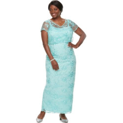 plus size brianna embroidered sequin dress womens size 20 w med blue - Plus Size Brianna Embroidered Sequin Dress, Women's, Size: 20 W, Med Blue
