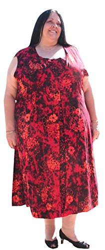 Plus Size Sleeveless Duster Dress by BBW Boutique (Black/Orange/Red) – Size 3X/4X 60″ Bust