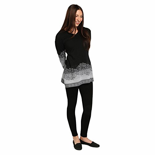 CATALOG CLASSICS Women's Tunic Top- Black and White Rose Border Long Sleeve Shirt – Large