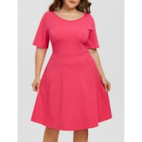 Maxine Of Hollywood Women's Plus Size Scoop Neck Side Tie Faux Tankini Swim Dress One Piece Swimsuit, Black/Dot, 16W