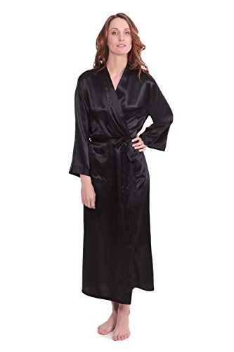 TexereSilk Women's 100% Long Silk Robe – Luxury Bathrobe by (Perla Naturale, Black, Large/X-Large) Romantic Gifts for Anniversary WS0101-BLK-LXL