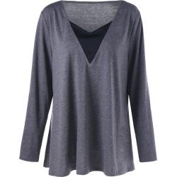 Long Sleeve V Neck Tunic T-shirt