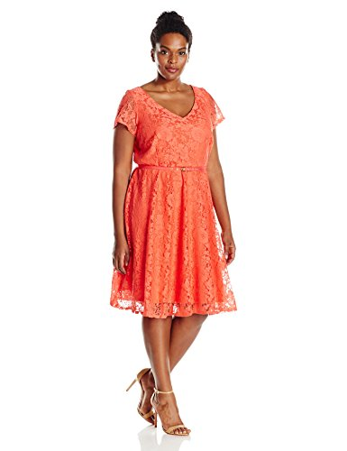 Julian Taylor Women's Plus Size Line All Over Lace Dress, Coral/Coral, 18W