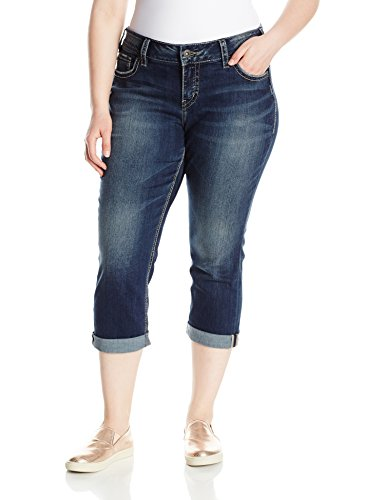 Silver Jeans Co. Women's Plus Size Elyse Relaxed Fit Mid Rise Capri, Dark Indigo Wash, 18