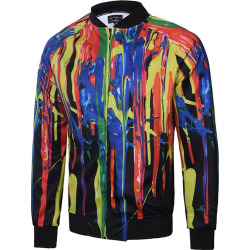 Print Zip Up Raglan Sleeve Jacket