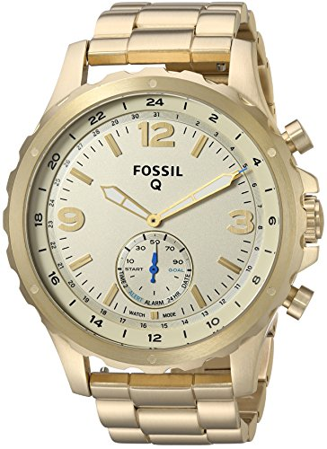 fossil q mens nate stainless steel hybrid smartwatch color gold tone - Fossil Q Men's Nate Stainless Steel Hybrid Smartwatch, Color: Gold-Tone (Model: FTW1142)