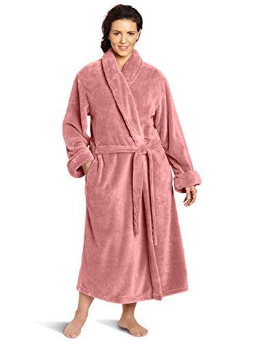 Casual Moments Women's Plus-Size 50 Inch Set-In Belt Robe, Dusty Rose, 1X