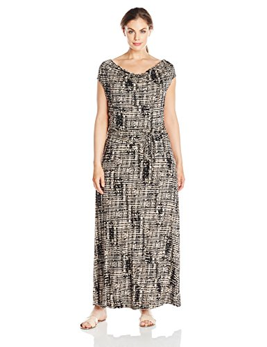 Calvin Klein Women's Plus Size Cowl-Neck Maxi Dress, Beige Windowpane, 1X