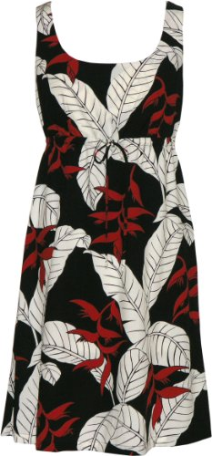 RJC Womens Ginger Heliconia Jungle Empire Tie Front Short Tank Dress in Black – 3X Plus