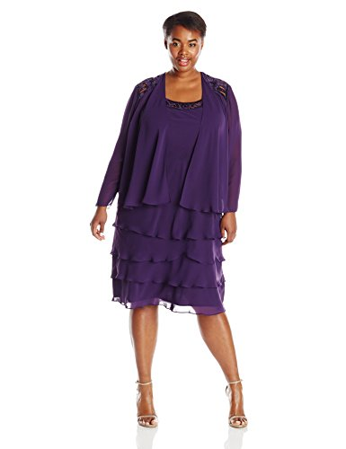 S.L. Fashions Women's Plus-Size Sequin Trimmed Jacket Dress, Eggplant, 18W