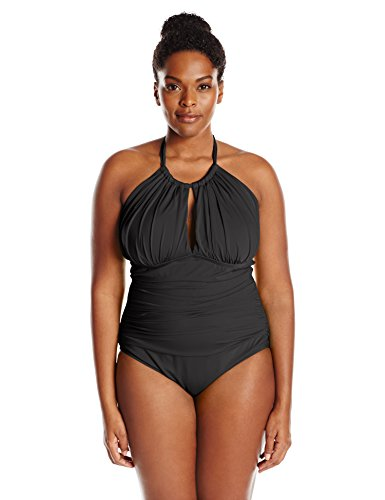 Kenneth Cole REACTION Women's Plus-Size Ruffle Shuffle Solid Hi Neck One Piece Swimsuit, Black, 2X