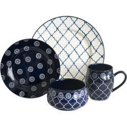baum moroccan 16 pc dinnerware set blue navy - Baum Moroccan 16-pc. Dinnerware Set, Blue (Navy)