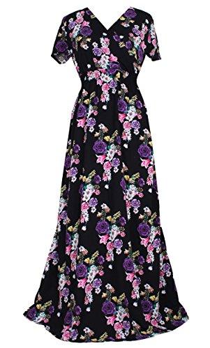 Women Black Summer Dress Maxi Plus Size Graduation Chiffon Gift Long Sleeveless Sexy Floral Sundress (5X, Black/Purple Floral)