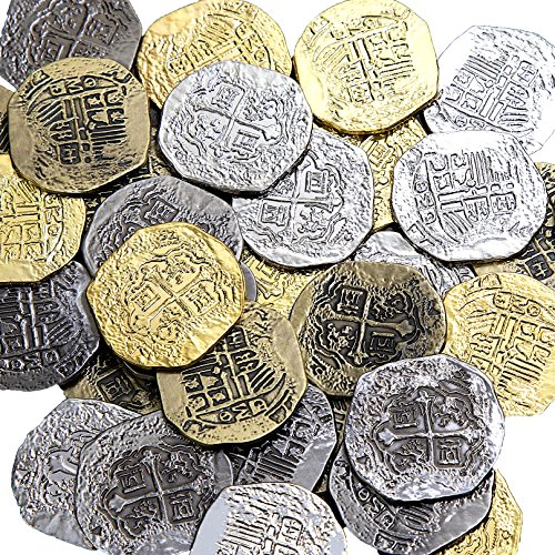 Extra Large Metal Pirate Treasure Coins – 1000 Gold and Silver Doubloon Replicas – Toy Pirate Coins