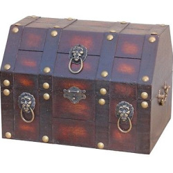 Antique Wooden Pirate Treasure Chest with Lion Rings – Brown -Vintiquewise, Dark Taupe
